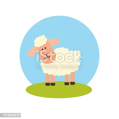 istock A sheep on the lawn against the sky in a flat style. Icon on a white isolated background. Vector illustration 1310849376