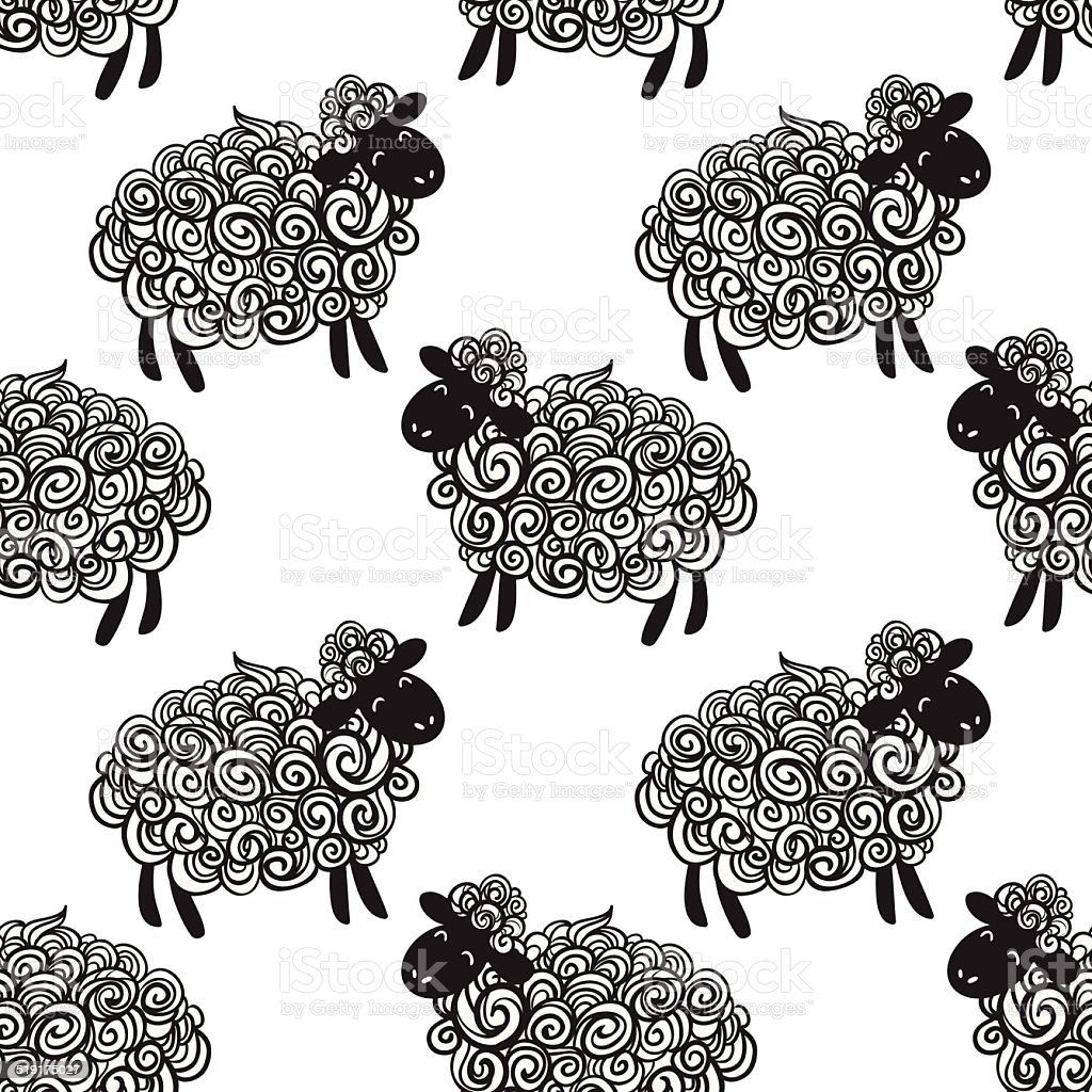 Sheep pattern vector background royalty-free sheep pattern vector background stock vector art & more images of 2015