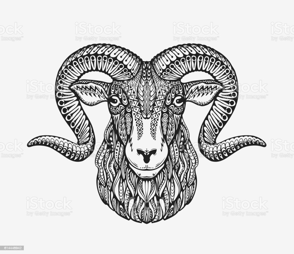 sheep ram or mountain goat animal decorated with ethnic patterns
