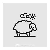 Sheep Rounded Line Icon