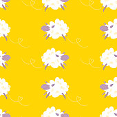 Sheep Seamless Pattern. Good night sleep little sheep. Vector illustration.