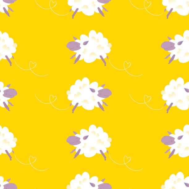 Sheep Seamless Pattern vector art illustration