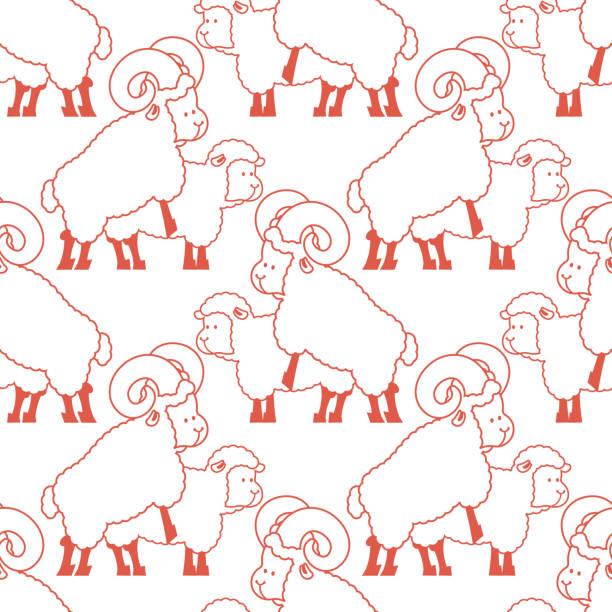 Motif de moutons de sexe. Ornement de rapports sexuels animaux de ferme. Fond de bêtes de reproduction. Texture adulte - Illustration vectorielle