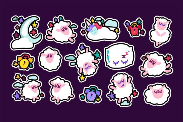 ilustrações de stock, clip art, desenhos animados e ícones de sheep sleeping vector stickers set - unicorn bed