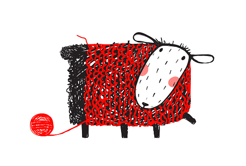 Sheep Wearing Handcrafted Knitting Sweater
