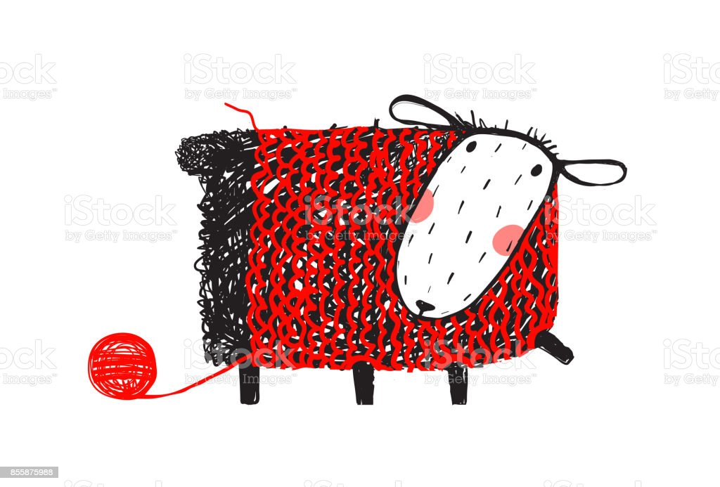 Sheep Wearing Handcrafted Knitting Sweater vector art illustration