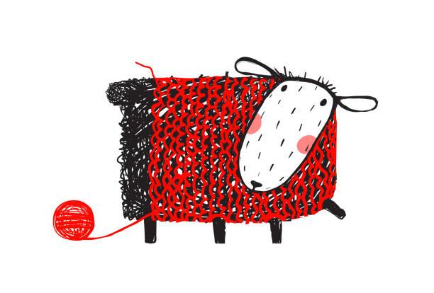 stockillustraties, clipart, cartoons en iconen met schapen dragen handgemaakt trui breien - wollig