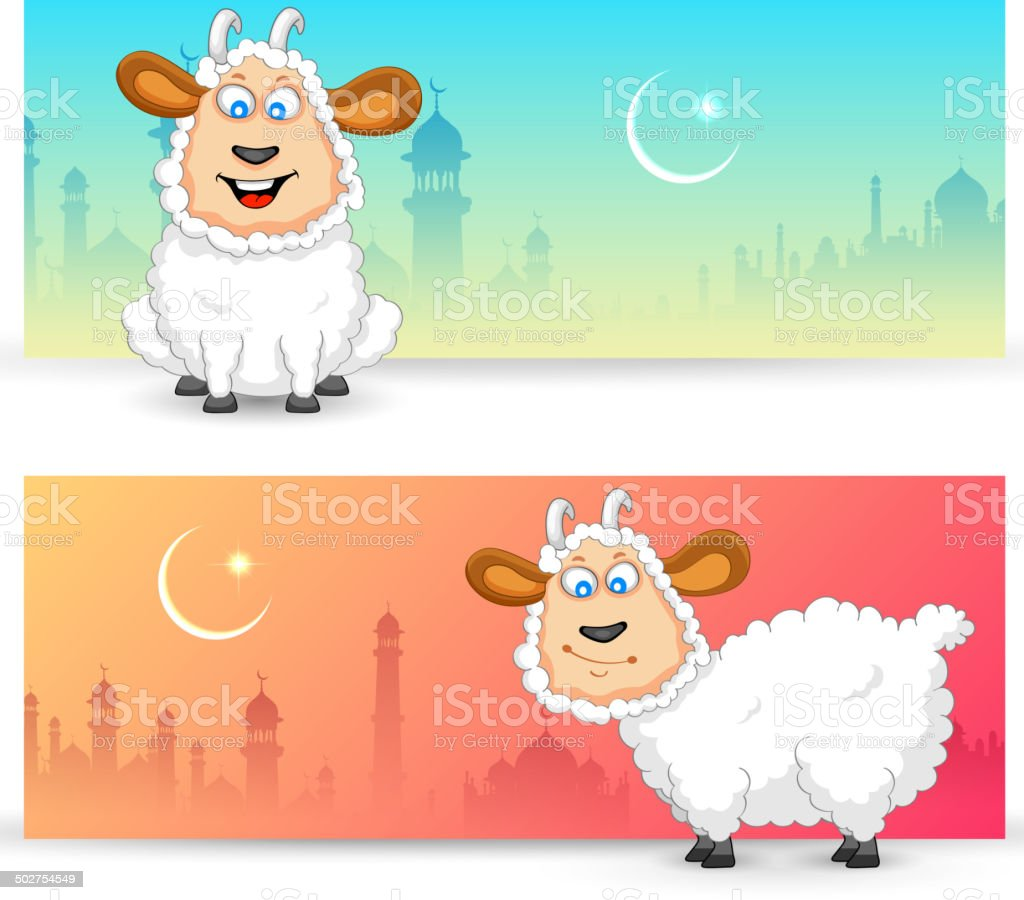 Sheep wishing Eid mubarak vector art illustration