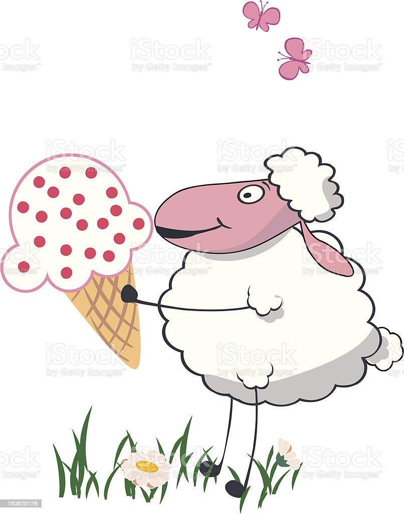 sheep with big ice creamve royalty-free stock vector art
