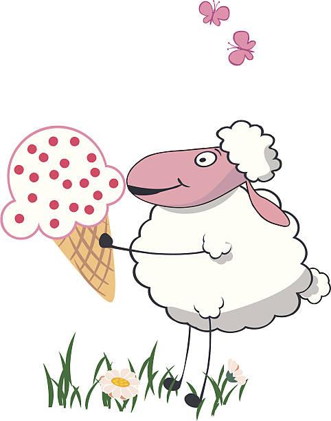 owce z dużym lizak creamve - ice cream stock illustrations