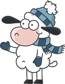 Sheep with bobcap and scarf in winter