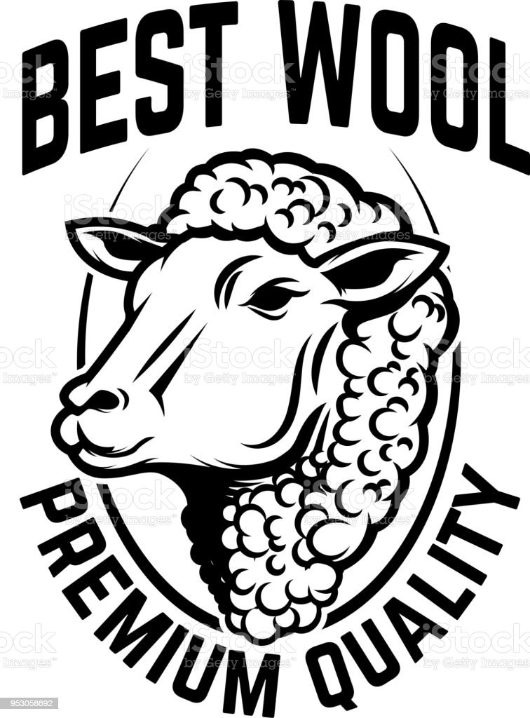 Sheep Wool Factory Emblem Template Sheep Head Design Element For ...