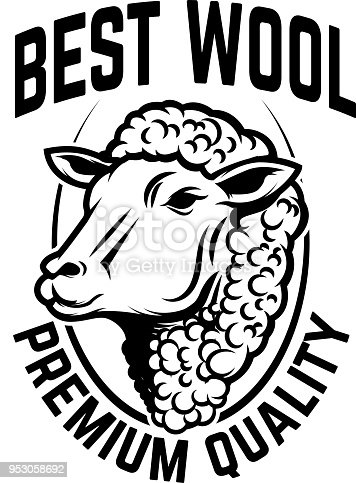 Sheep wool factory emblem template. Sheep head. Design element for  label,sign. Vector image