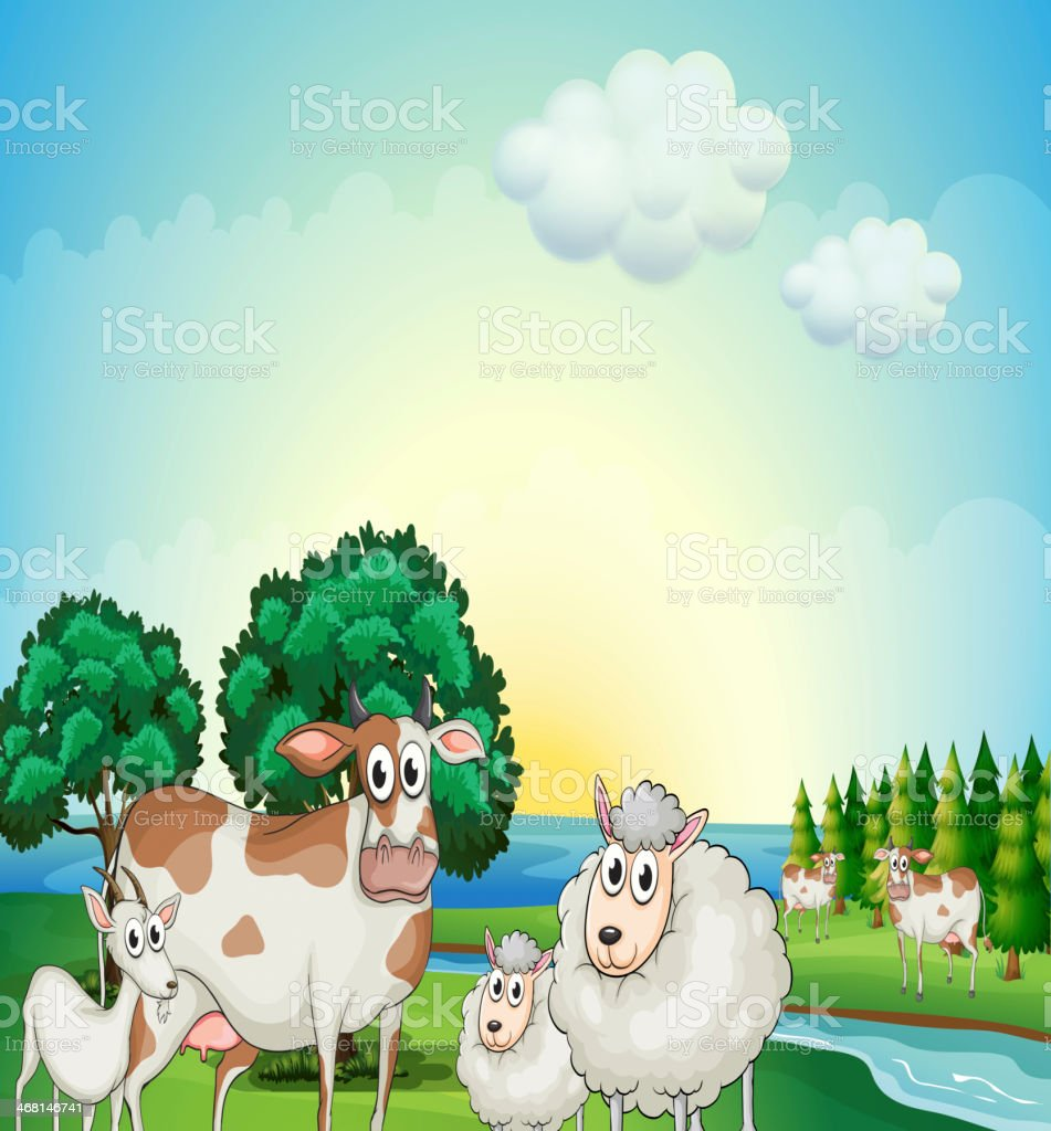 Sheeps, cow and goat near the flowing river vector art illustration