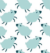 Sheeps seamless pattern in cute cartoon flat style fluffy clouds repeating texture with blue and white animals