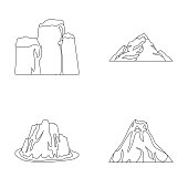 Sheer cliffs, a volcanic eruption, a mountain with a beach, a glacier. Different mountains set collection icons in outline style vector symbol stock illustration web.