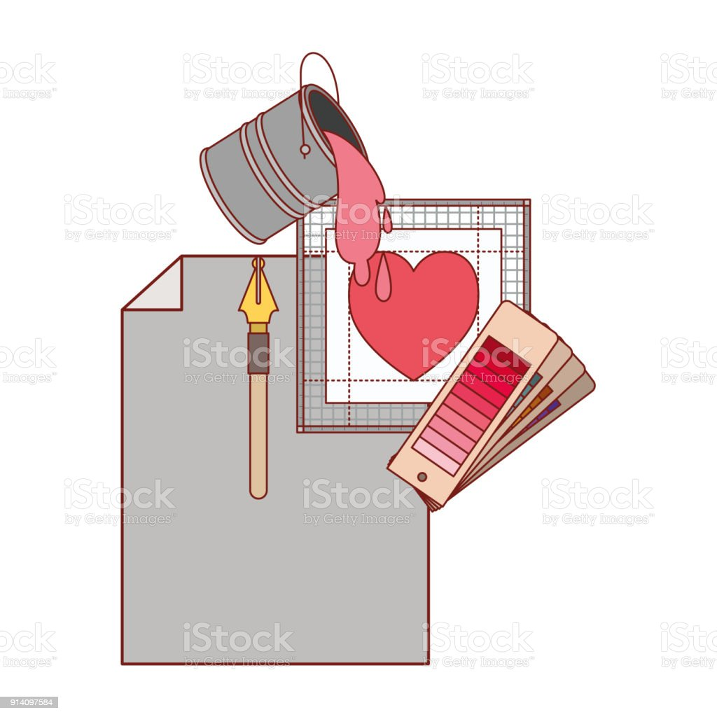 Sayfada Boş Ve Dolma Kalem Ve Renk Paleti Kılavuzu Ve Boya Kovası Ve