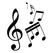 Music notes icon. Sheet music sign on white background. Vector illustration