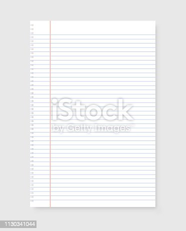 Sheet of notebook in realistic style on gray background