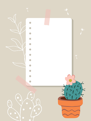 A sheet of notepad taped to wall. Note paper, cactus in a red pot, white contours of plants in the background.