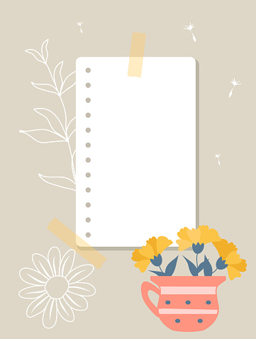 A sheet of notepad taped to wall. Note paper, yellow flower in pink mug, white contours of plants in the background.