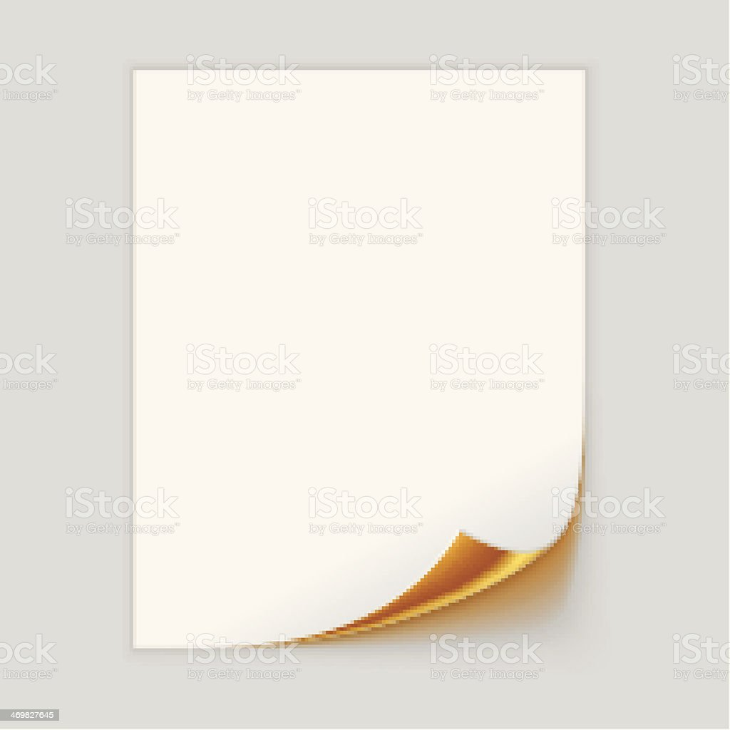 Sheet of off-white paper with gold corner turned up vector art illustration