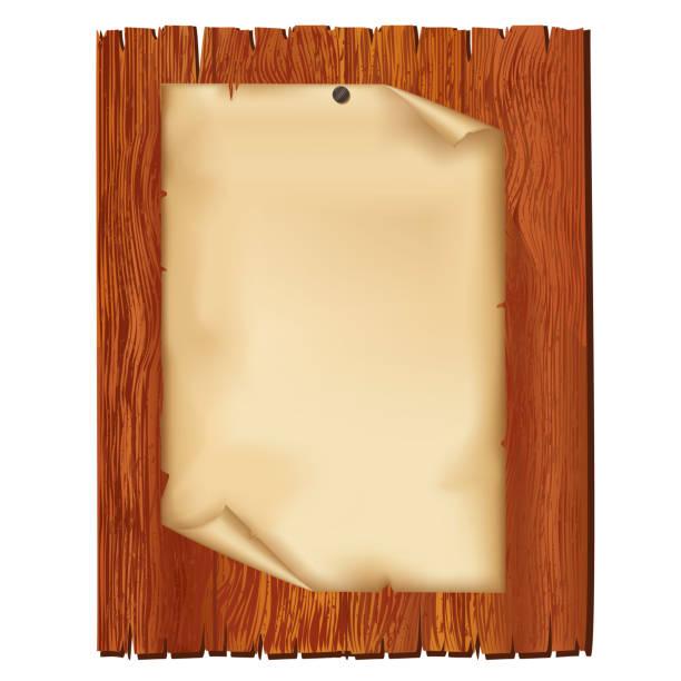 blatt der alten papier auf holzbrett - nagelplatte stock-grafiken, -clipart, -cartoons und -symbole