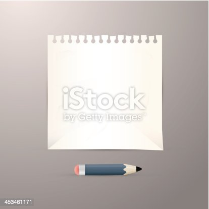 Vector 3D Scene with Sheet of Paper and Pencil