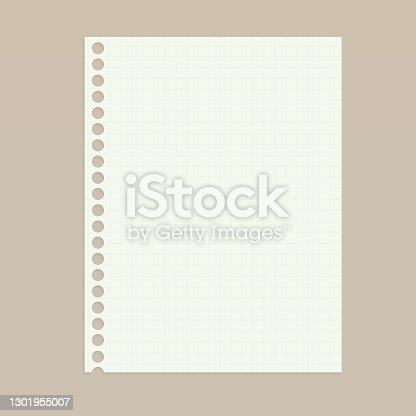 istock Sheet of paper in a cage with round holes from the springs. Clean vertical notebook sheet. Vector realistic Mockup. EPS10. 1301955007