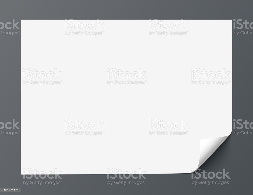 Sheet of paper with curl corner isolated on dark background vector art illustration