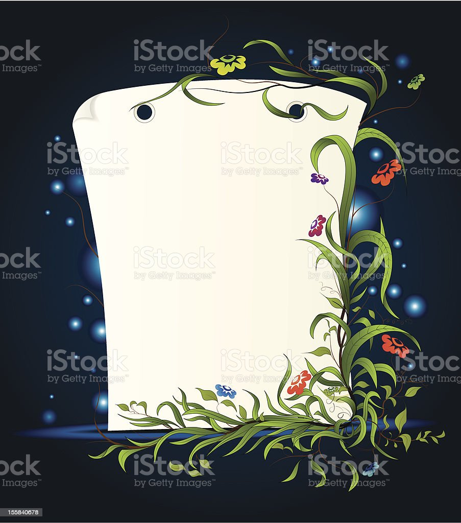 Sheet of paper with floral ornament royalty-free stock vector art