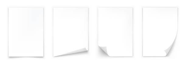 ilustrações, clipart, desenhos animados e ícones de folha de papel a4 com sombra. papel com canto ondulado - papel