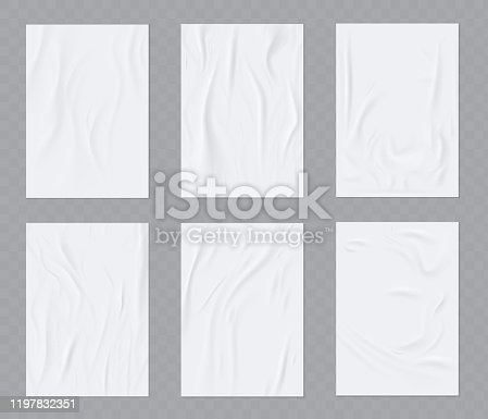 A sheet of sloppy paper. Wrinkled paper vector realistic template for poster or flyer glued to the wall.  Vector set