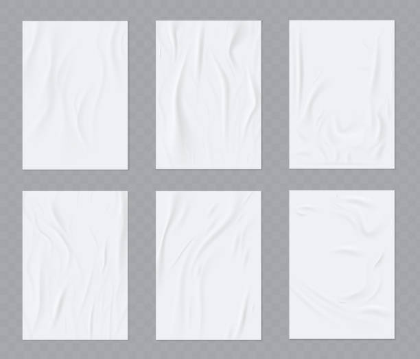 ilustrações de stock, clip art, desenhos animados e ícones de a sheet of sloppy paper. wrinkled paper vector realistic template for poster or flyer glued to the wall.  vector set - white wall