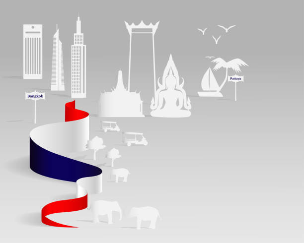 blatt papierkunst von thailand reisen, papierkunst der stadt, landschaft. vektor-illustration-design. reisen sie in thailand-konzept. - pattaya stock-grafiken, -clipart, -cartoons und -symbole