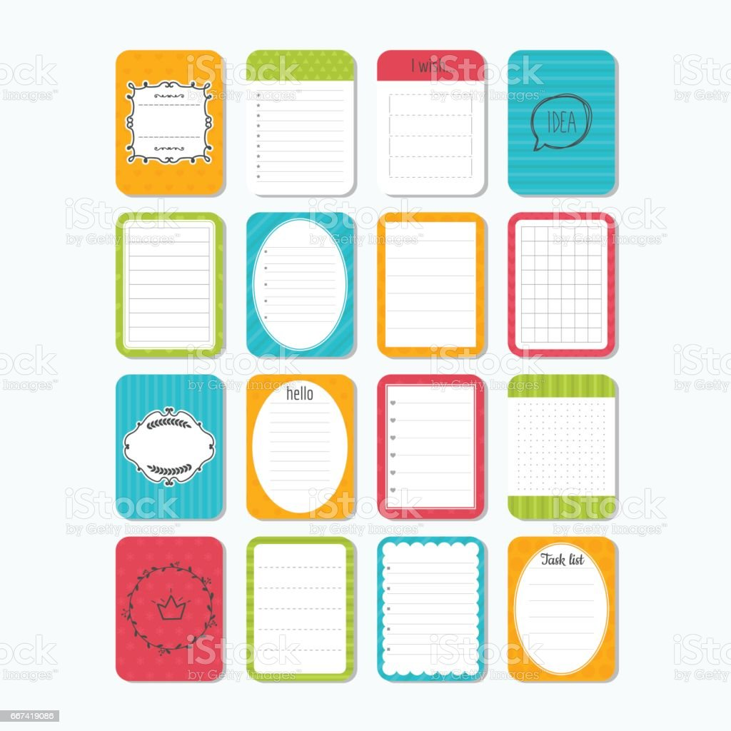 Sheets Of Paper Cute Design Elements Collection Of Various Note