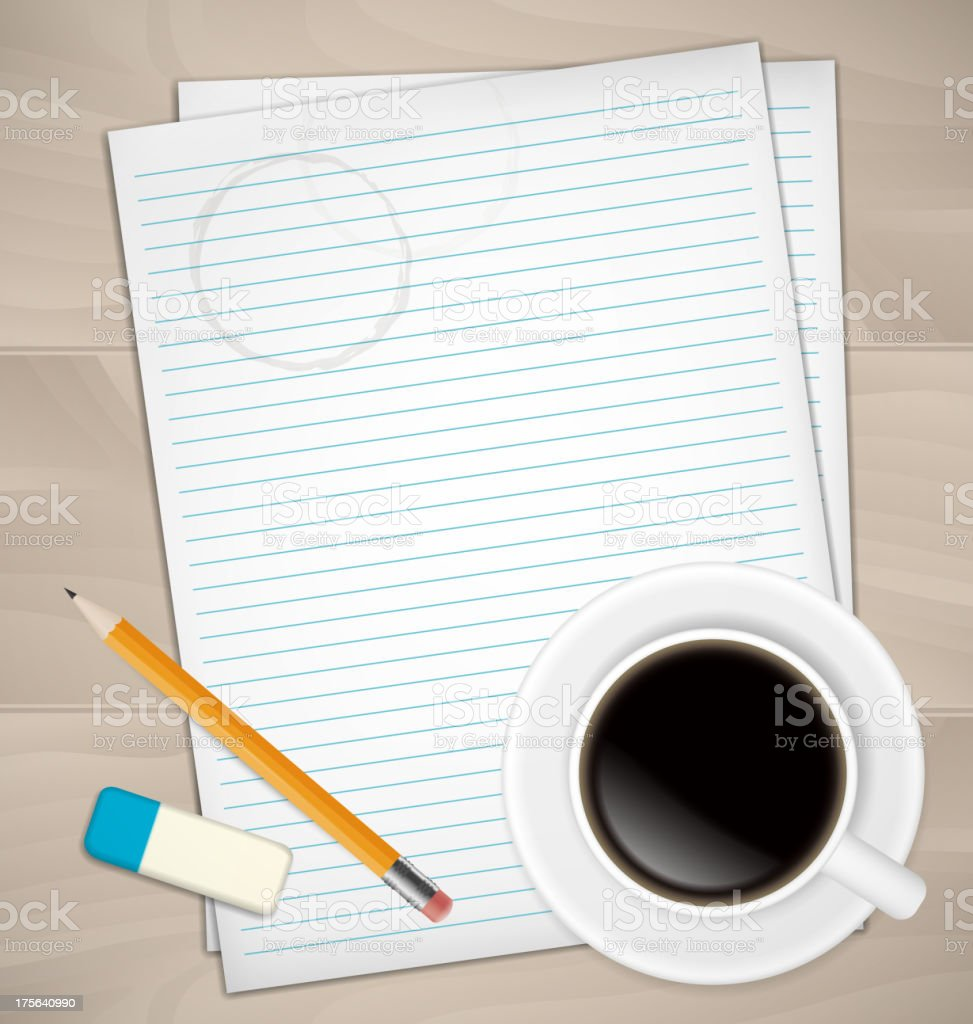 Sheets of paper, rubber and pencil royalty-free stock vector art