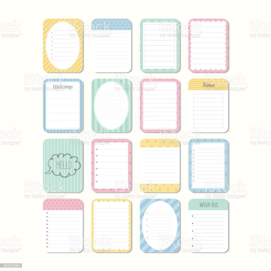 Sheets Of Paper. Template Notepad. Collection Of Various Note Papers. Cute  Design Elements  Notepad Paper Template