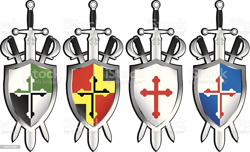Sheilds and Swords royalty-free stock vector art
