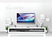 Minimalist modern white TV shelf with books , decorations and sound system. Rich vector graphic template.