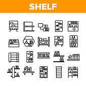 Shelf Room Furniture Collection Icons Set Vector. Shelf With Books And Drink, Documents And Domestic Plant, Shop Shelving And Bar Concept Linear Pictograms. Monochrome Contour Illustrations