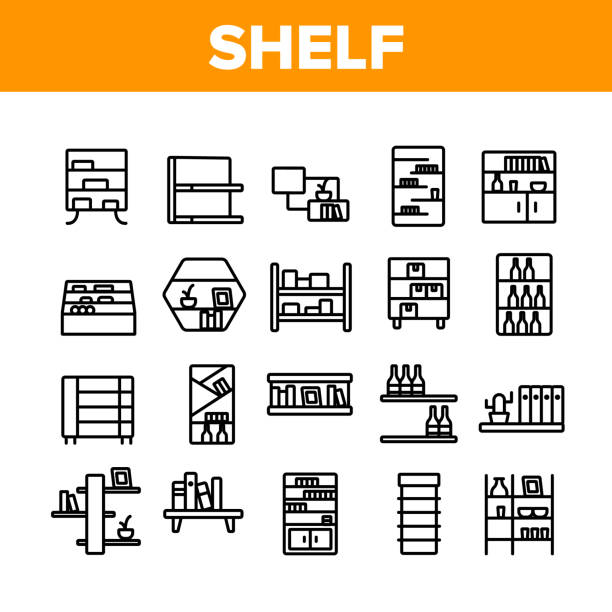 Shelf Room Furniture Collection Icons Set Vector Shelf Room Furniture Collection Icons Set Vector. Shelf With Books And Drink, Documents And Domestic Plant, Shop Shelving And Bar Concept Linear Pictograms. Monochrome Contour Illustrations no people stock illustrations
