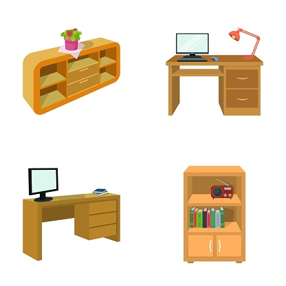 A shelf with a flower, a desk with a computer and a lamp ,a table with a monitor and a book, a cabinet with documents and a radio.Furniture and interior set collection icons in cartoon style isometric vector symbol stock illustration web.