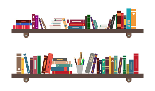 Shelf with book. Library on bookshelf. Bookcase in school, room or bookstore. Background for study, education. Interior with furniture in office. Pile of literature in home cabinet. Flat icon. Vector