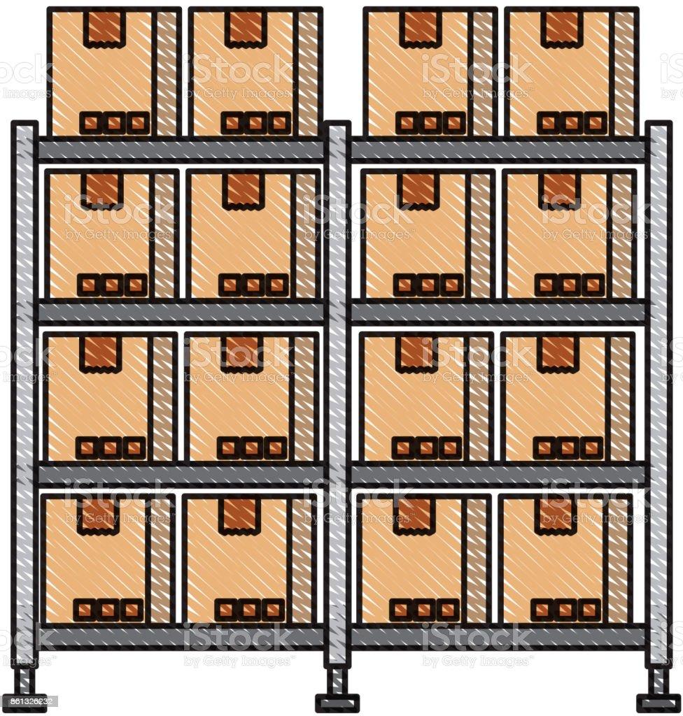Ilustración de Estantería Con Cajas De Cartón Del Almacén Carga ...
