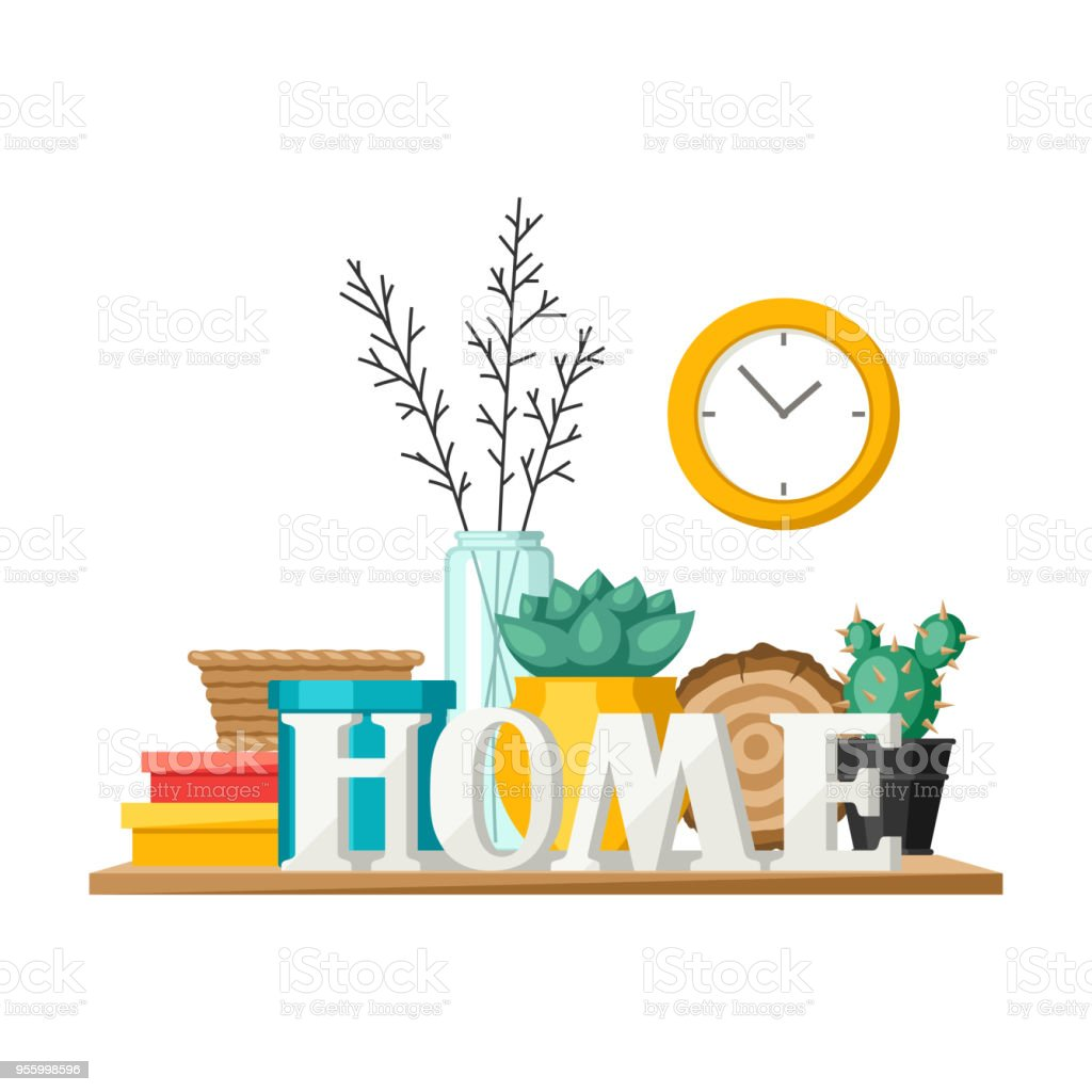 Shelf With Home Decor Vase Picture And Plant Stock Vector Art More