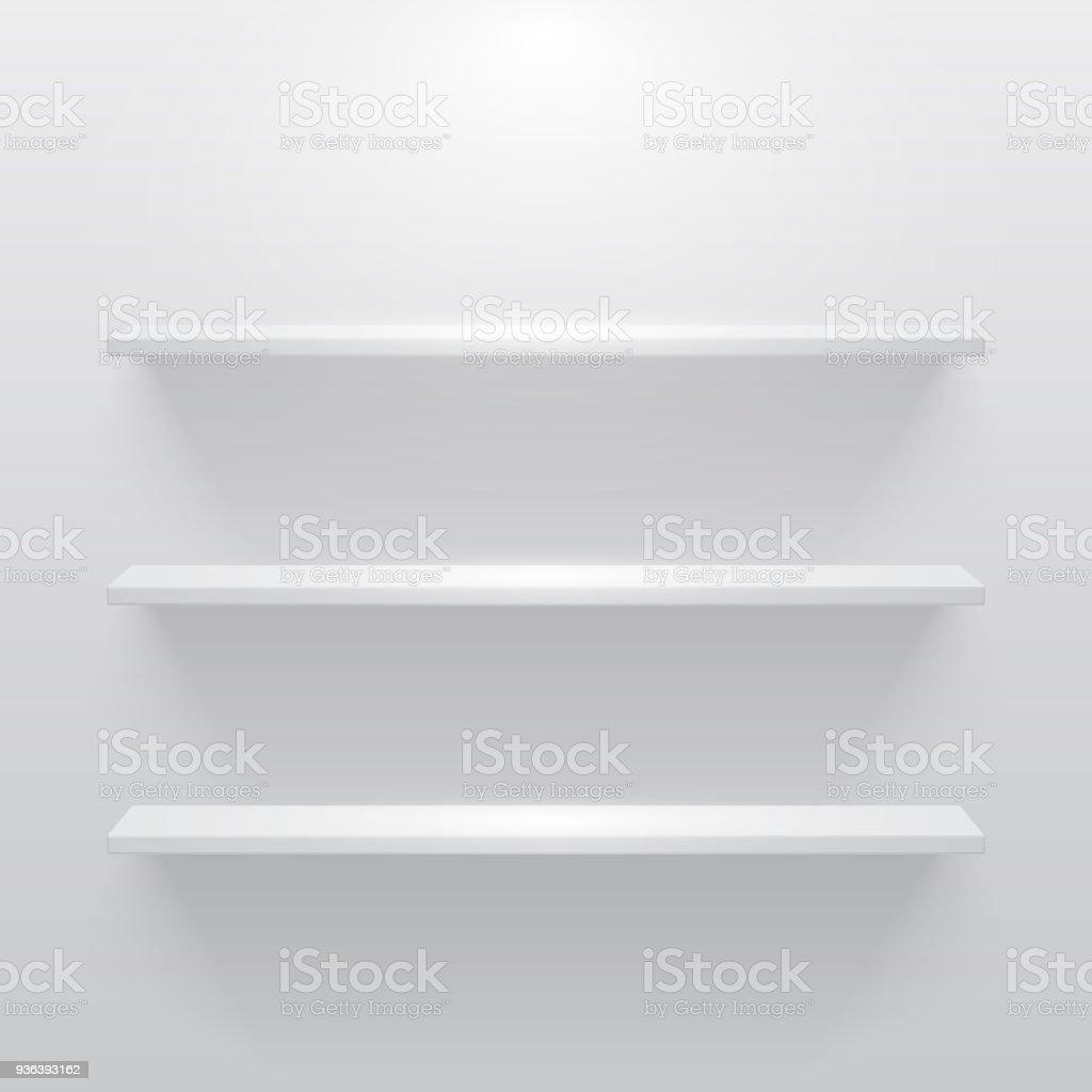 빛과 그림자 빈 화이트 룸에서 선반 - 로열티 프리 0명 벡터 아트