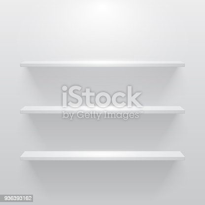 Shelf with light and shadow in empty white room.