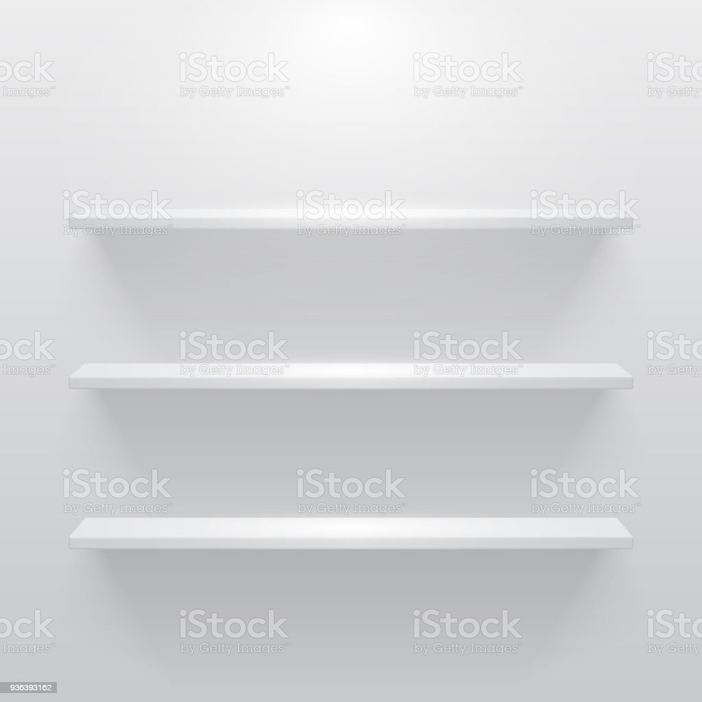 Shelf with light and shadow in empty white room vector art illustration