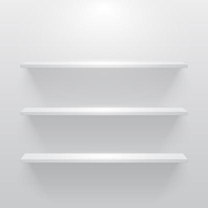 빛과 그림자 빈 화이트 룸에서 선반 0명에 대한 스톡 벡터 아트 및 기타 이미지
